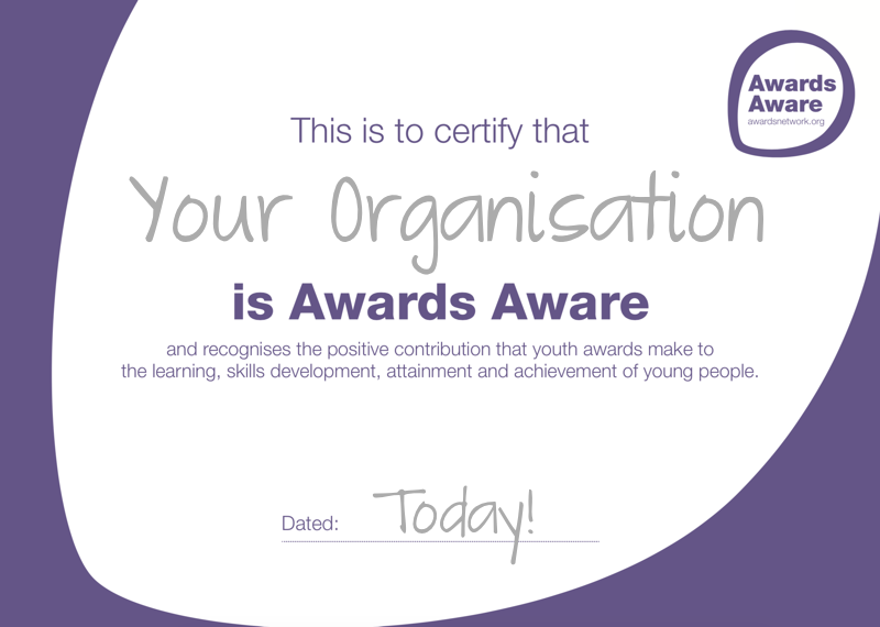 Awards Aware certificate